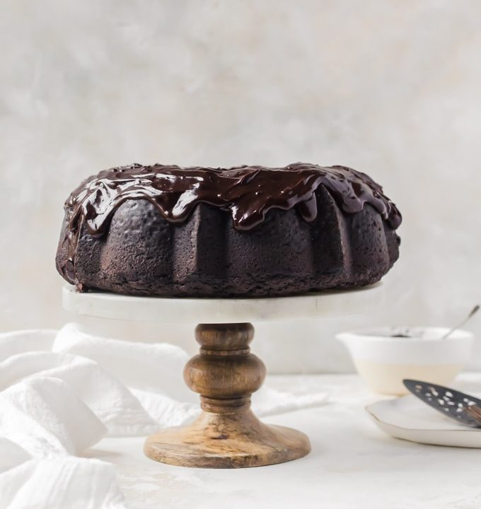 Chocolate stout bundt cake on a cake stand