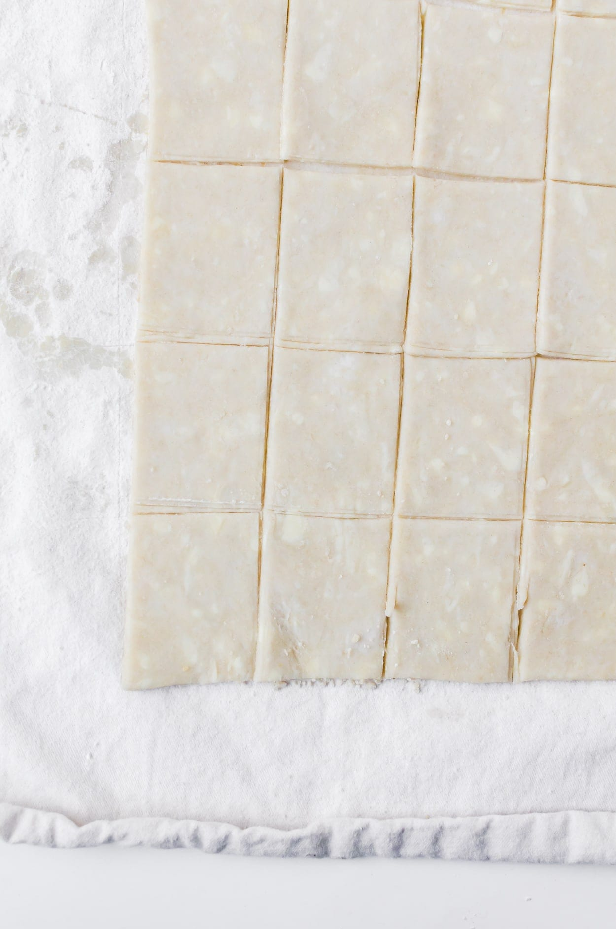 Cut pieces of dough for pop tart cereal