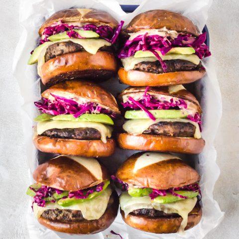 A tray full of juicy turkey burgers