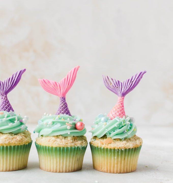 three mermaid cupcakes in a row