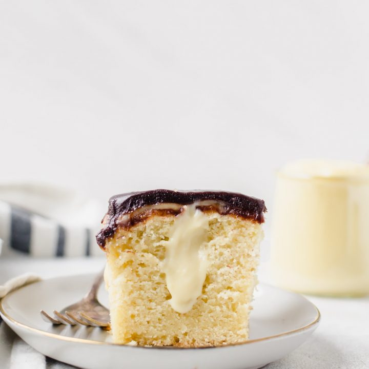 Boston cream pie poke cake. This simple dessert is a family favorite