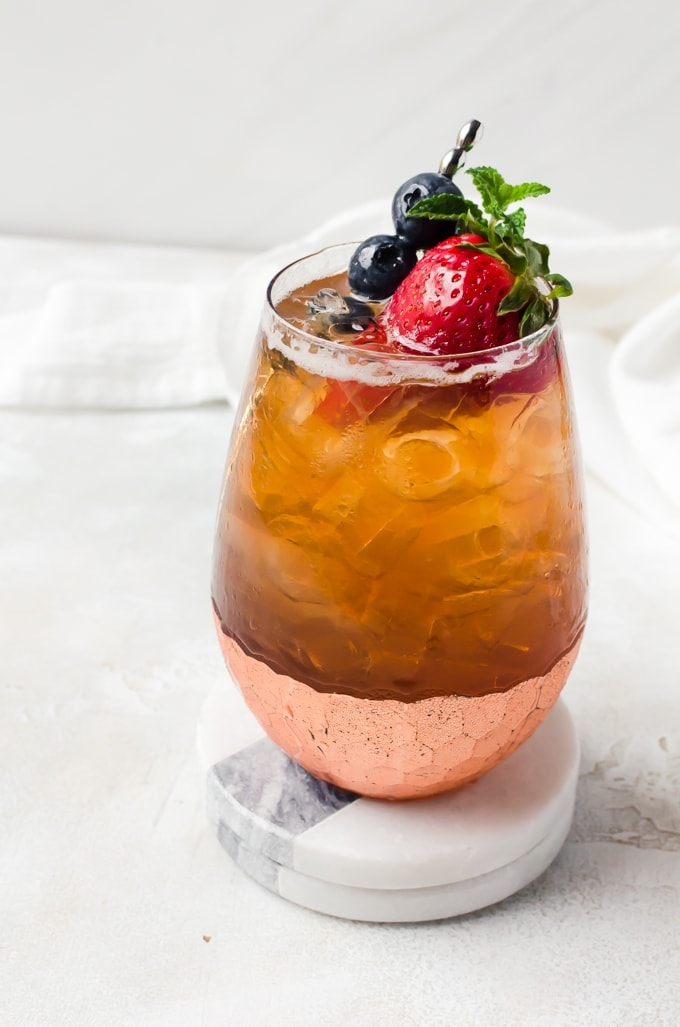 fresh strawberry cocktail with bourbon