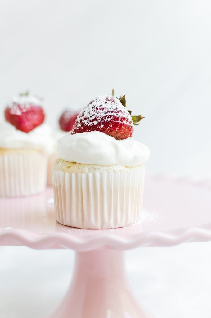 angel food cupcakes on cake stand