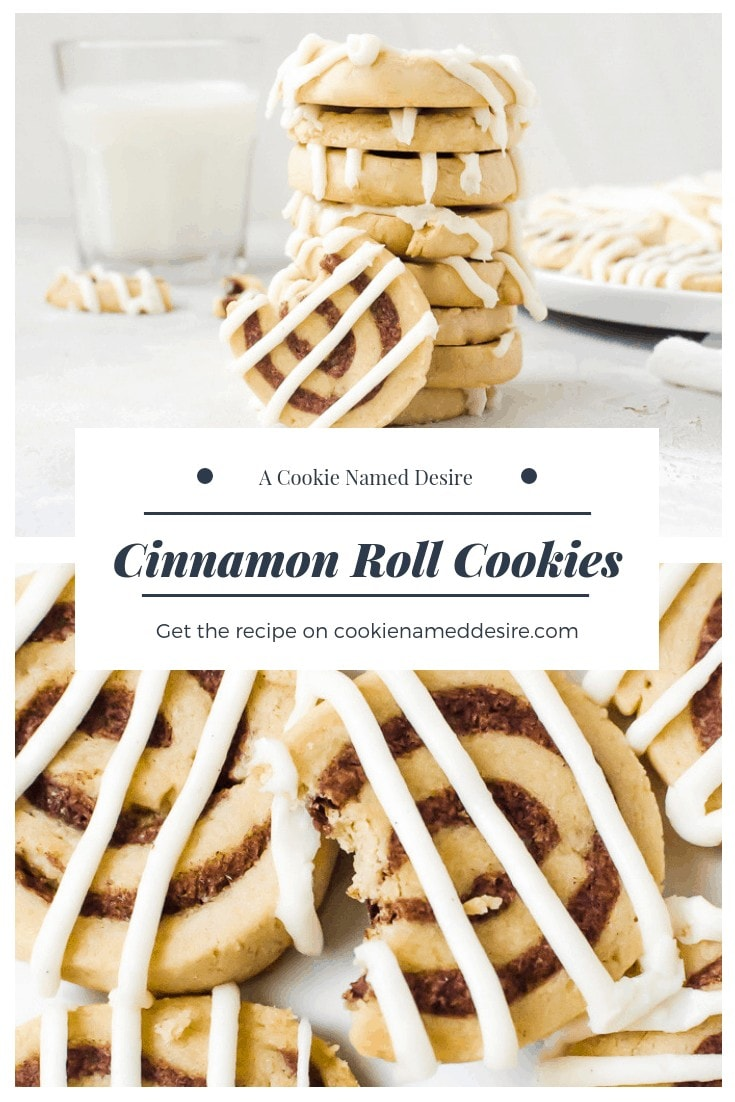 These cinnamon roll cookies are a family favorite. Try them to see why they never last more than a day in the house! #cinnamonroll #cookies #christmascookies #cookieplatter