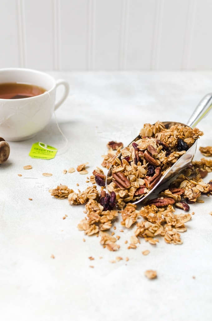 maple pecan granola in a scoop straight on
