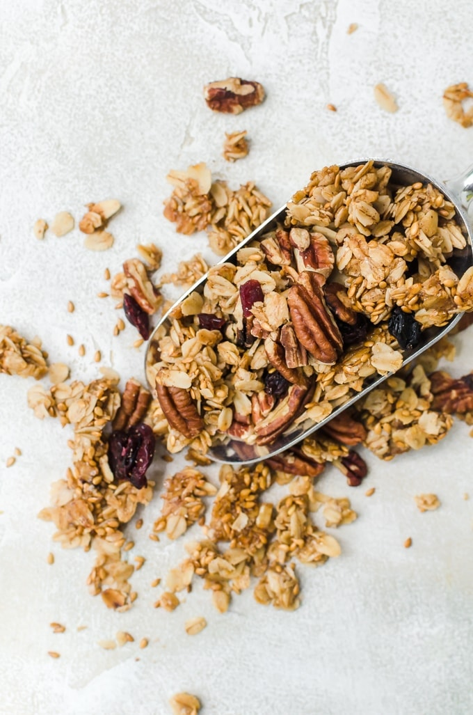maple pegan granola overhead close