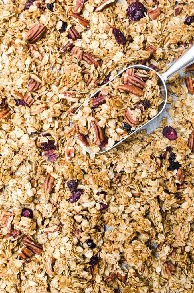 maple pecan granola in a baking sheet