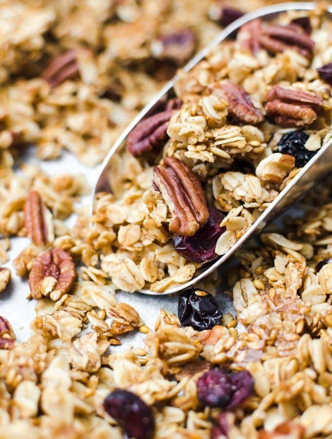maple pecan granola straight on close up