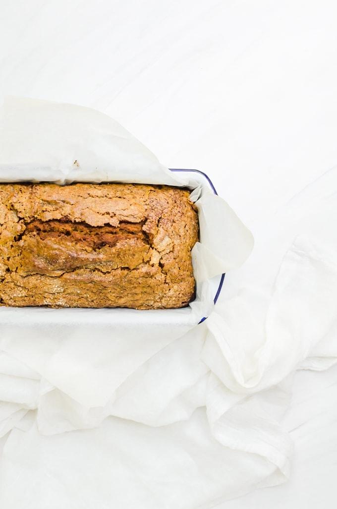 Overhead honey pumpkin bread in pan