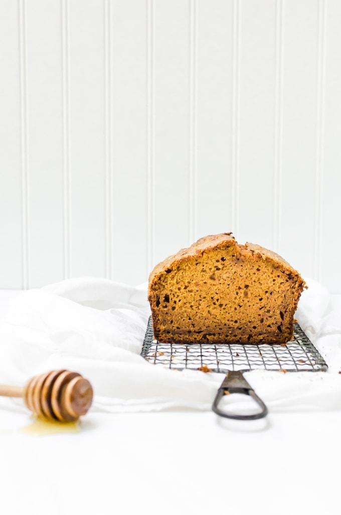Honey pumpkin bread inside loaf