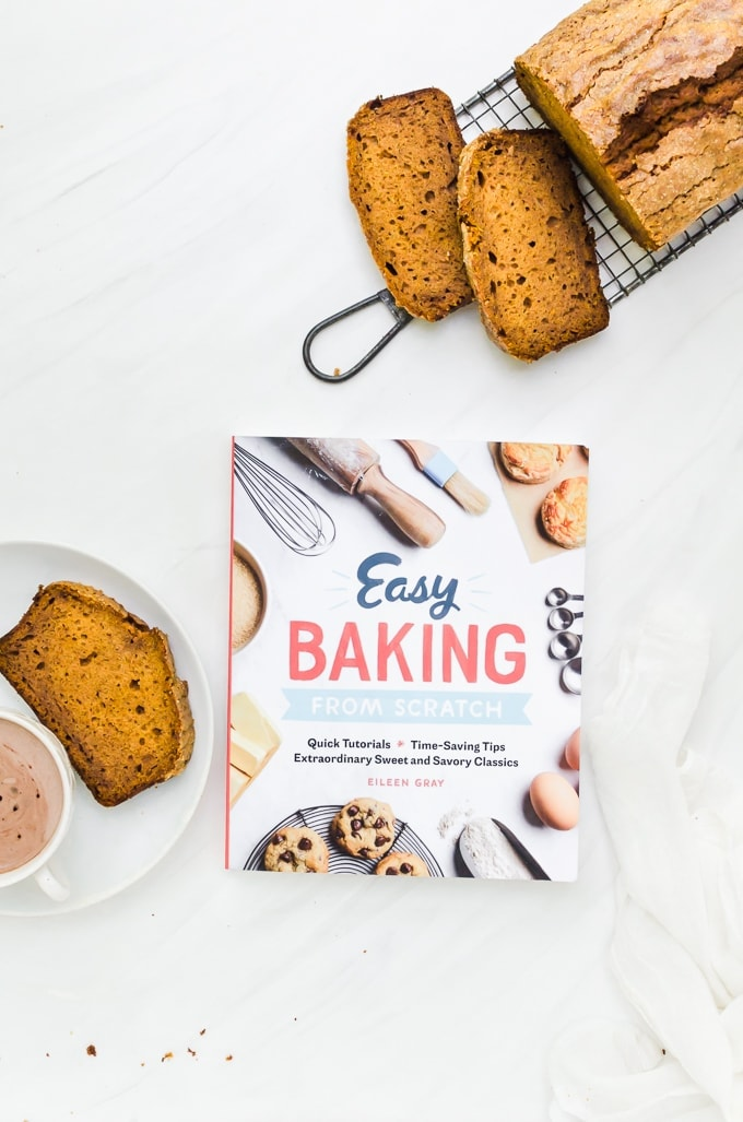 honey pumpkin bread overhead with easy baking from scratch cookbook