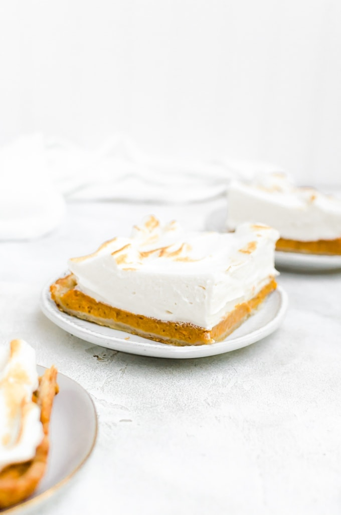 straight on shot slice of maple sweet potato pie on plates