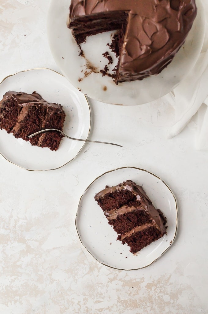 old fashioned chocolate cake slices