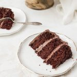 old fashioned chocolate cake slice