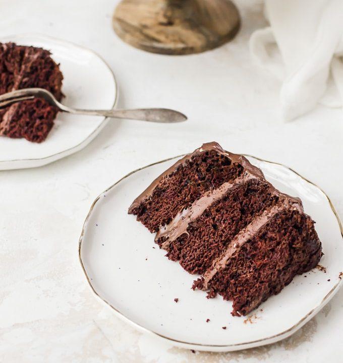old fashioned chocolate cake slice