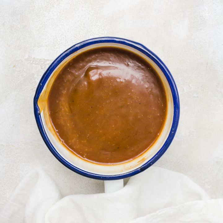 Salted caramel sauce in a pot overhead