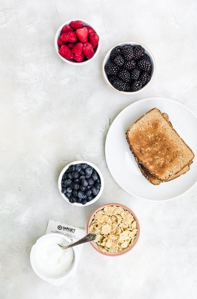 ingredients for breakfast toast