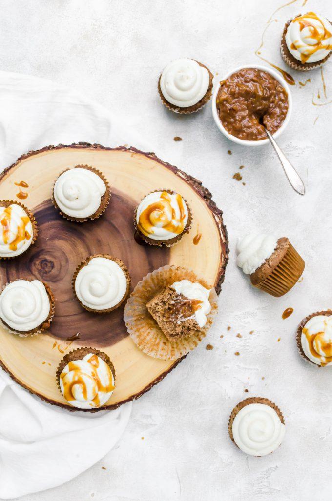 Overhead caramel apple cupcakes