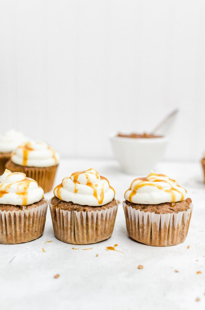 lined up caramel apple cupcakes