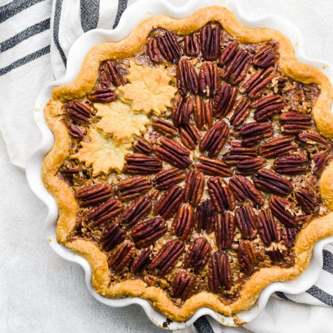 overhead chocolate pumpkin pecan pie