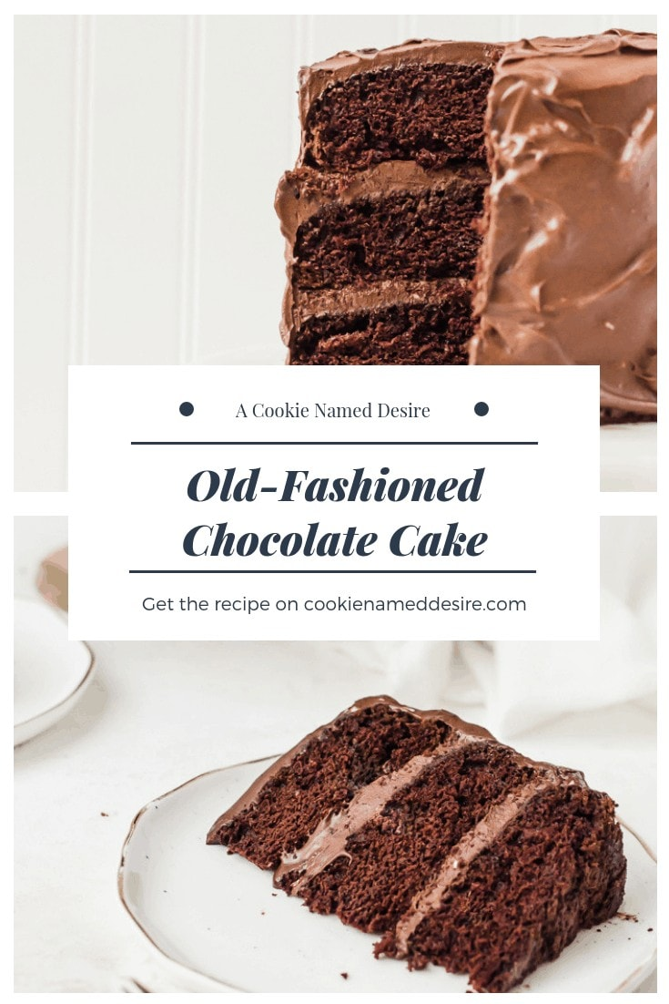A rich and chocolaty old fashioned chocolate cake with a creamy chocolate frosting #chocolate #cake #chocolatecake #chocolatefrosting