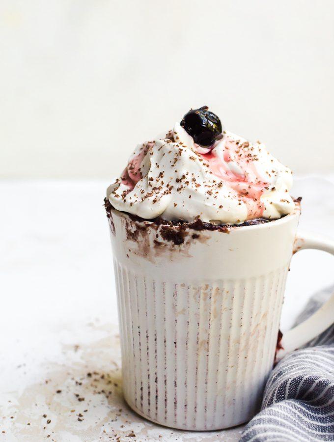 black forest mug cake