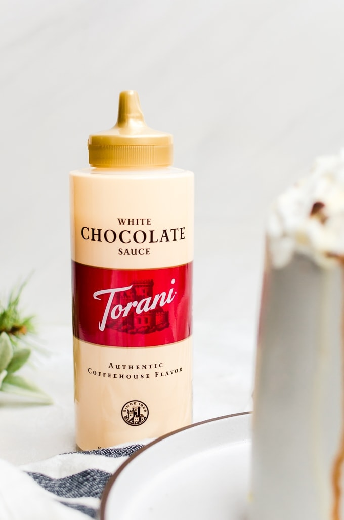 close up bottle of white chocolate torani