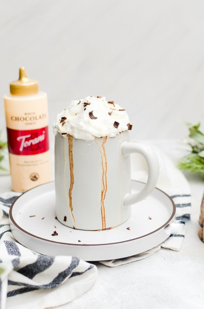 hero shot gingerbread hot chocolate with whipped cream