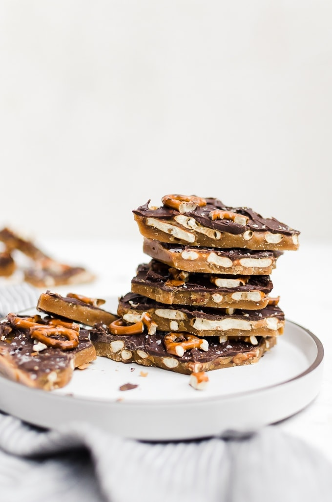 stacked pretzel toffee bark on a plate