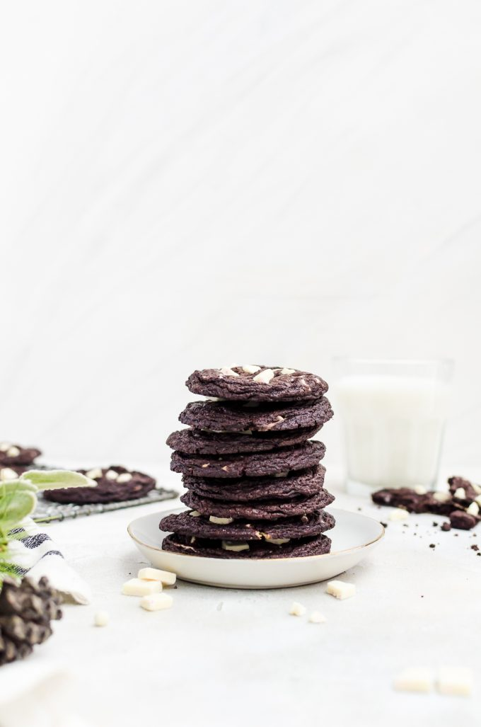 stacked chocolate peppermint cookies on a plate