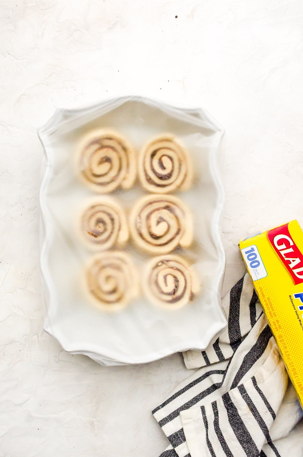 wrapped unbaked cinnamon rolls