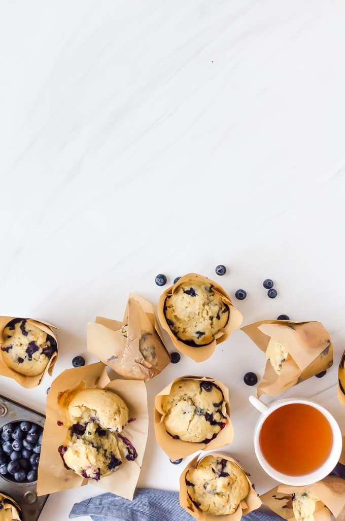 blueberry doughnut muffins with tea