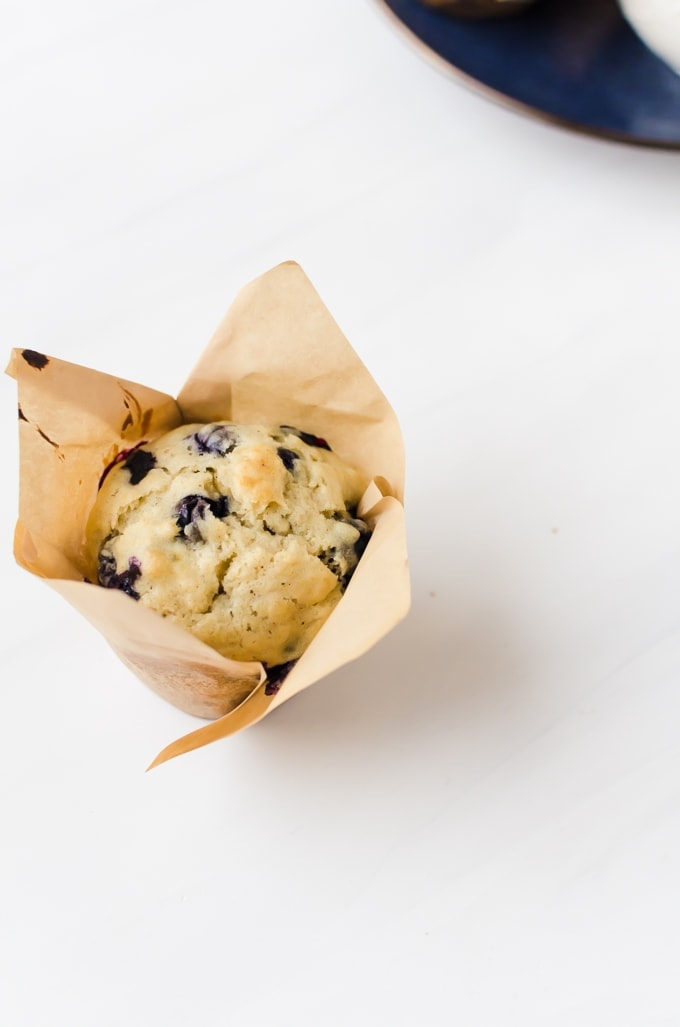 blueberry doughnut muffins in wrapper