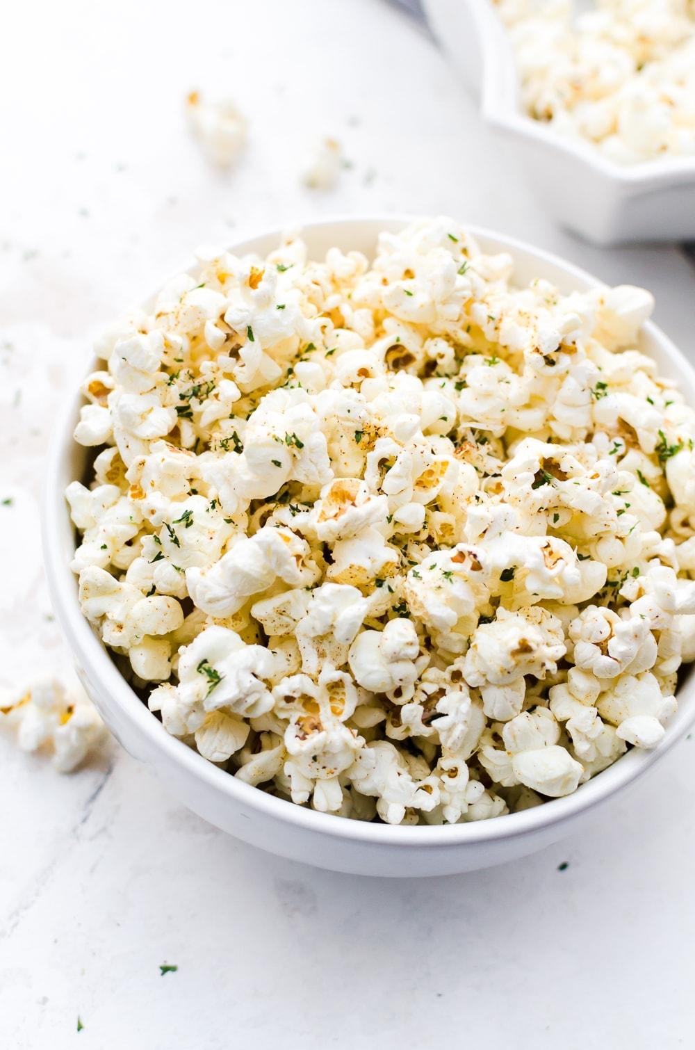 bowl garlic parmesan popcorn