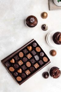 assorted simply chocolate with cupcakes