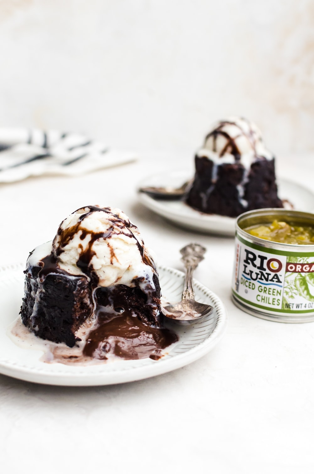 cut open chocolate lava cake with ice cream