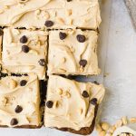 sliced banana sheet cake with peanut butter frosting