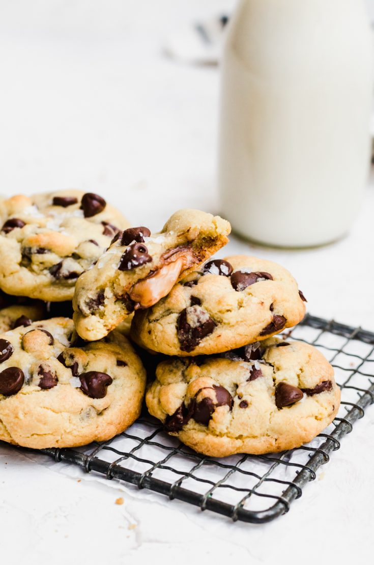 There is nothing better than a gooey salted caramel chocolate chip cookie #saltedcaramel #cookie