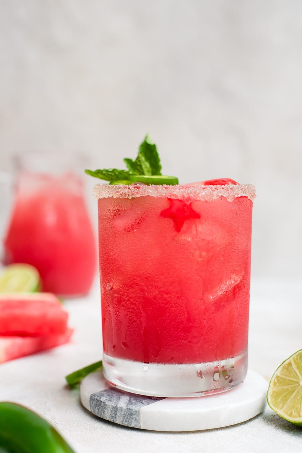 close up watermelon margarita close up in glass