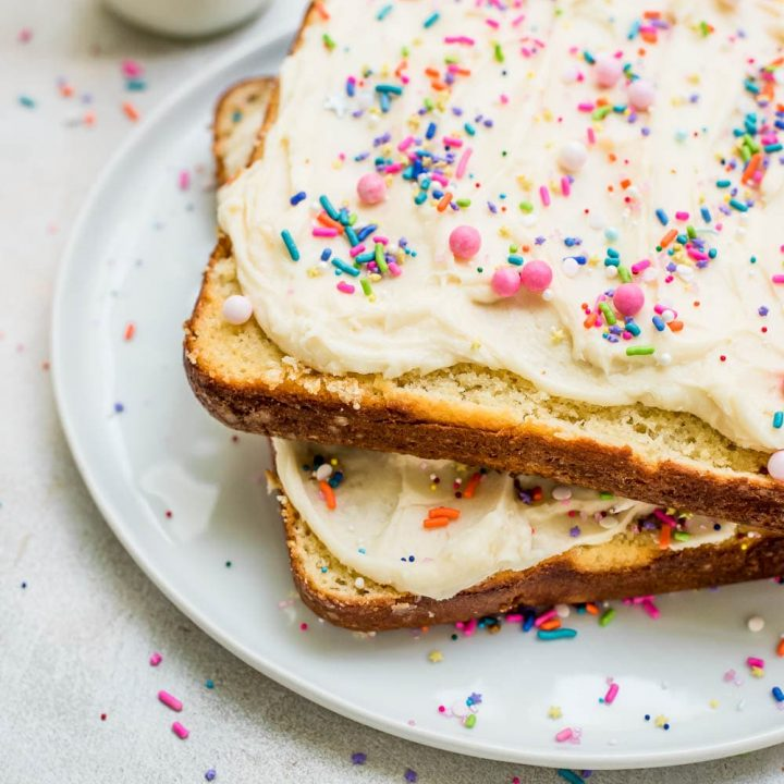 fairy bread vanilla butter cake on a plate