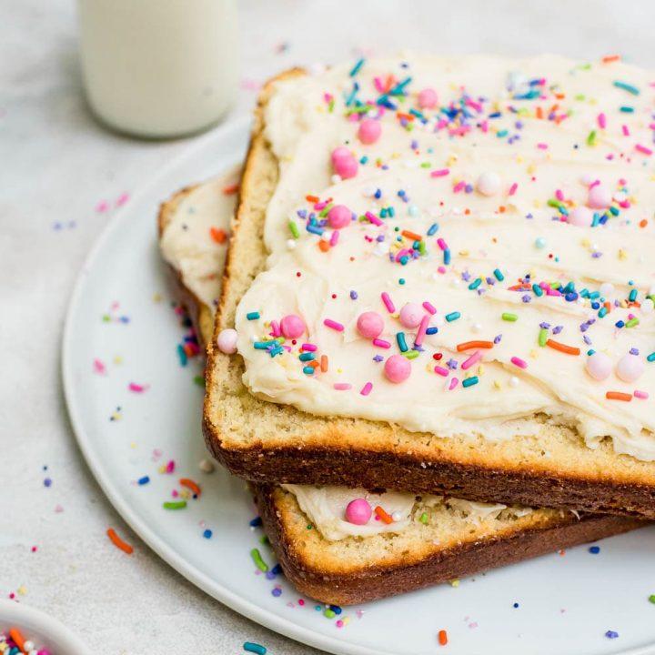 fairy bread vanilla butter cake on plate