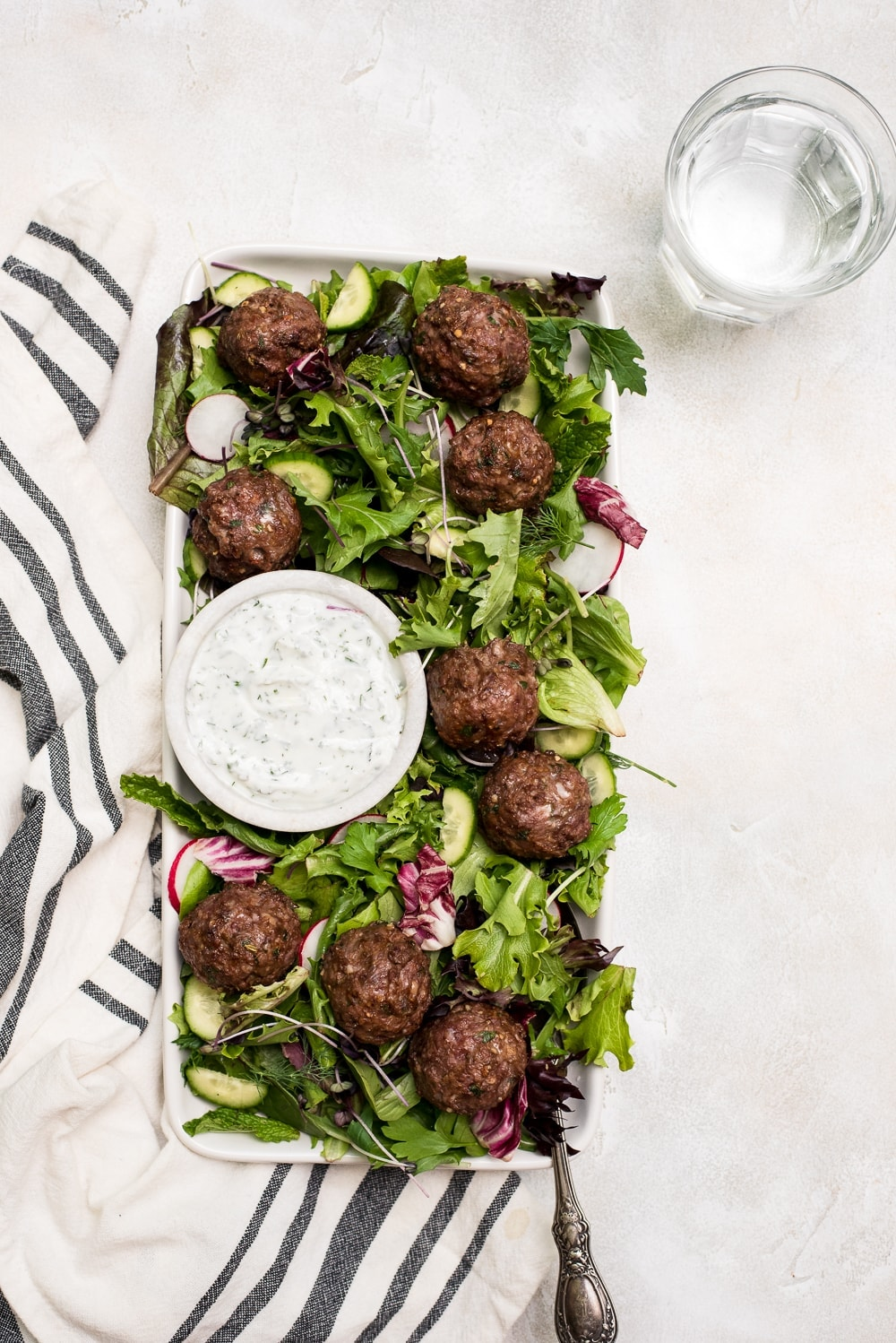 lamb meatballs in salad