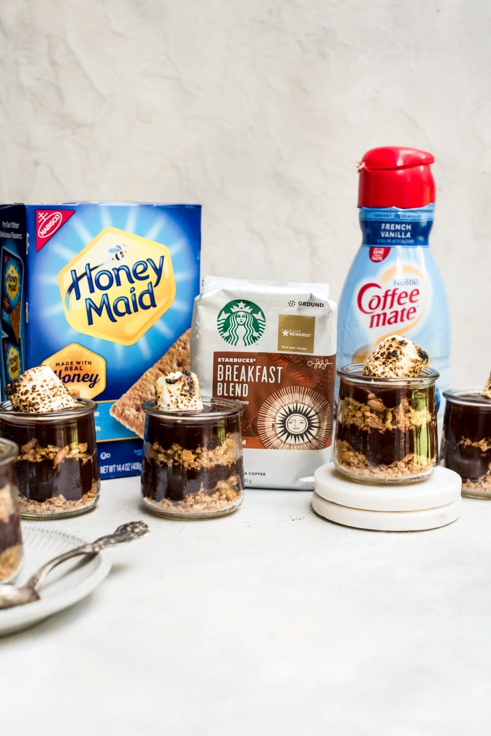s'mores pudding with ingredients