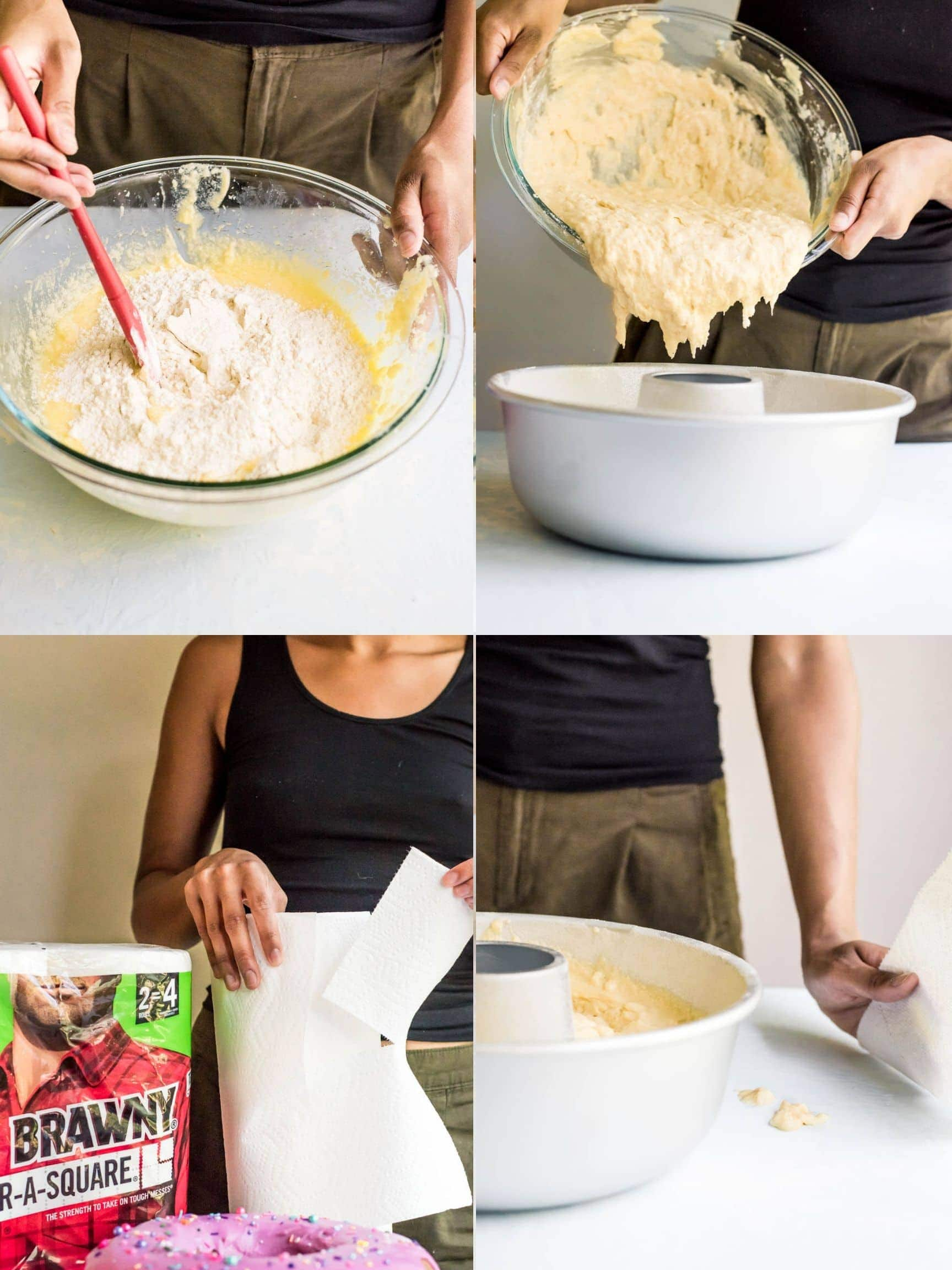 step by step collage how to make donut cake pouring into pan