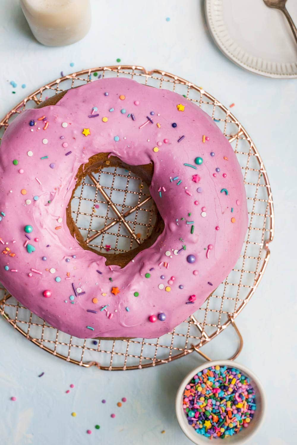 donut cake whole overhead on wire rack