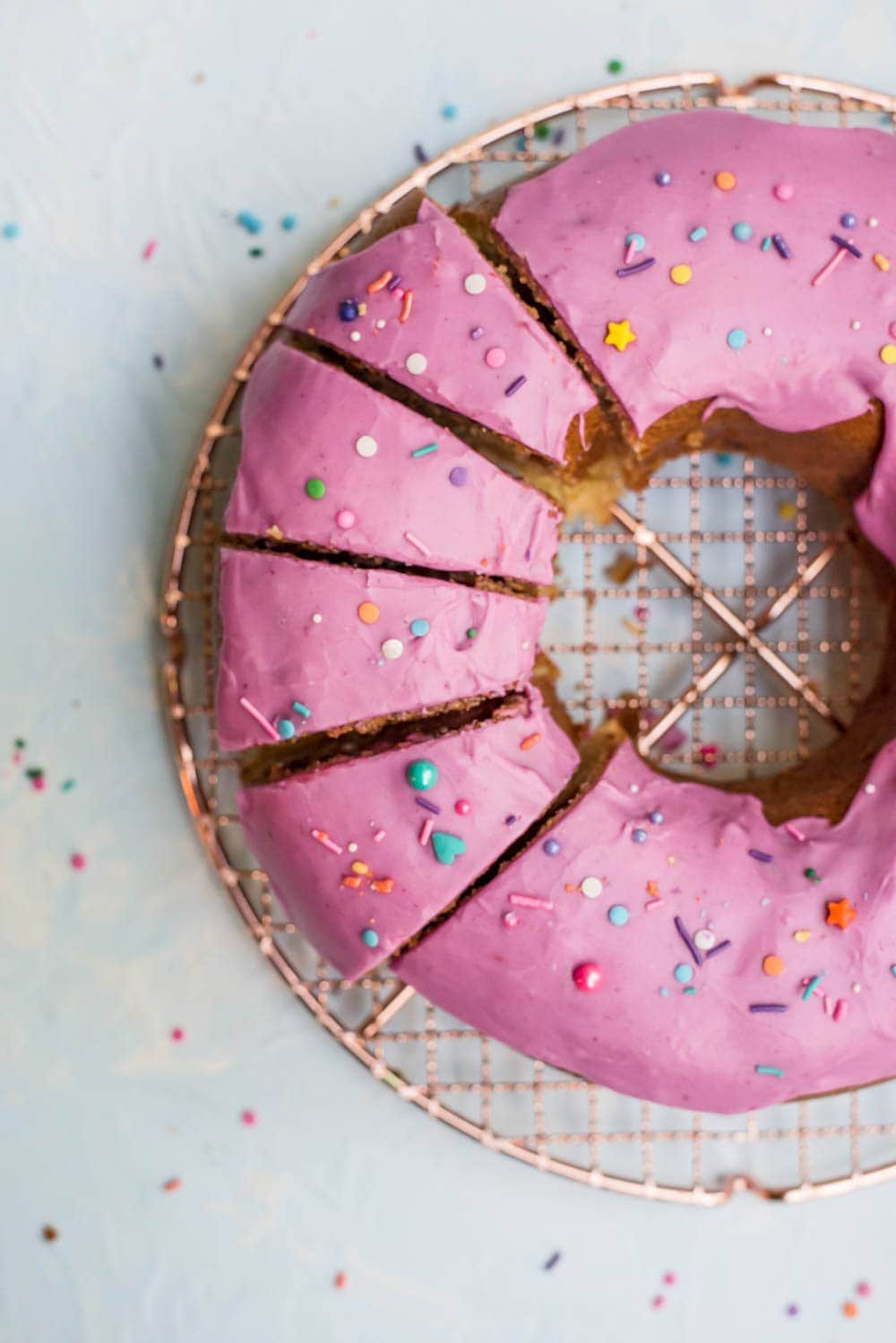 close up slices of donut cake