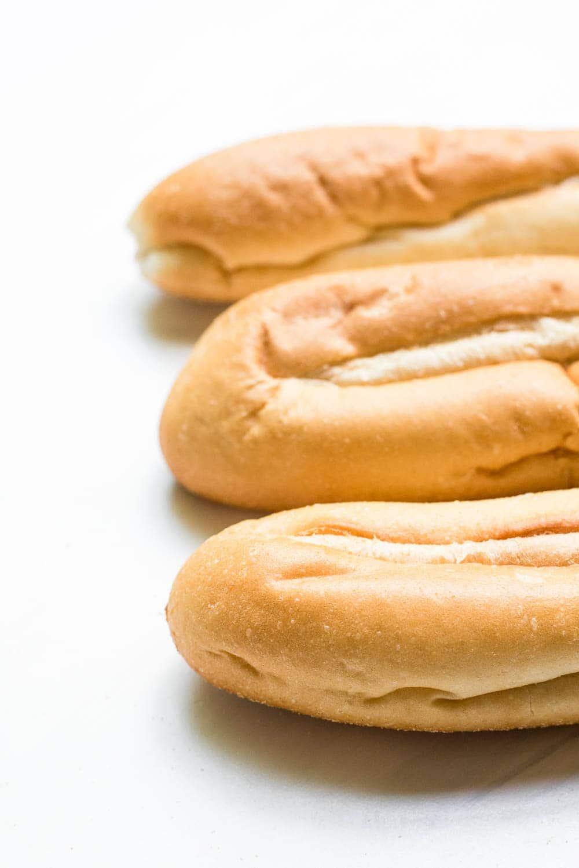 Hoagie rolls freshly baked close up
