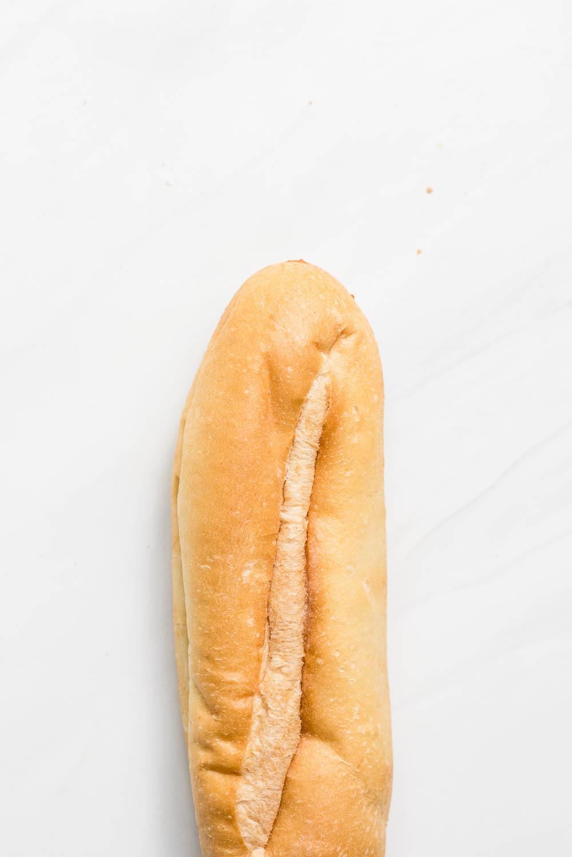 Single hoagie roll close up