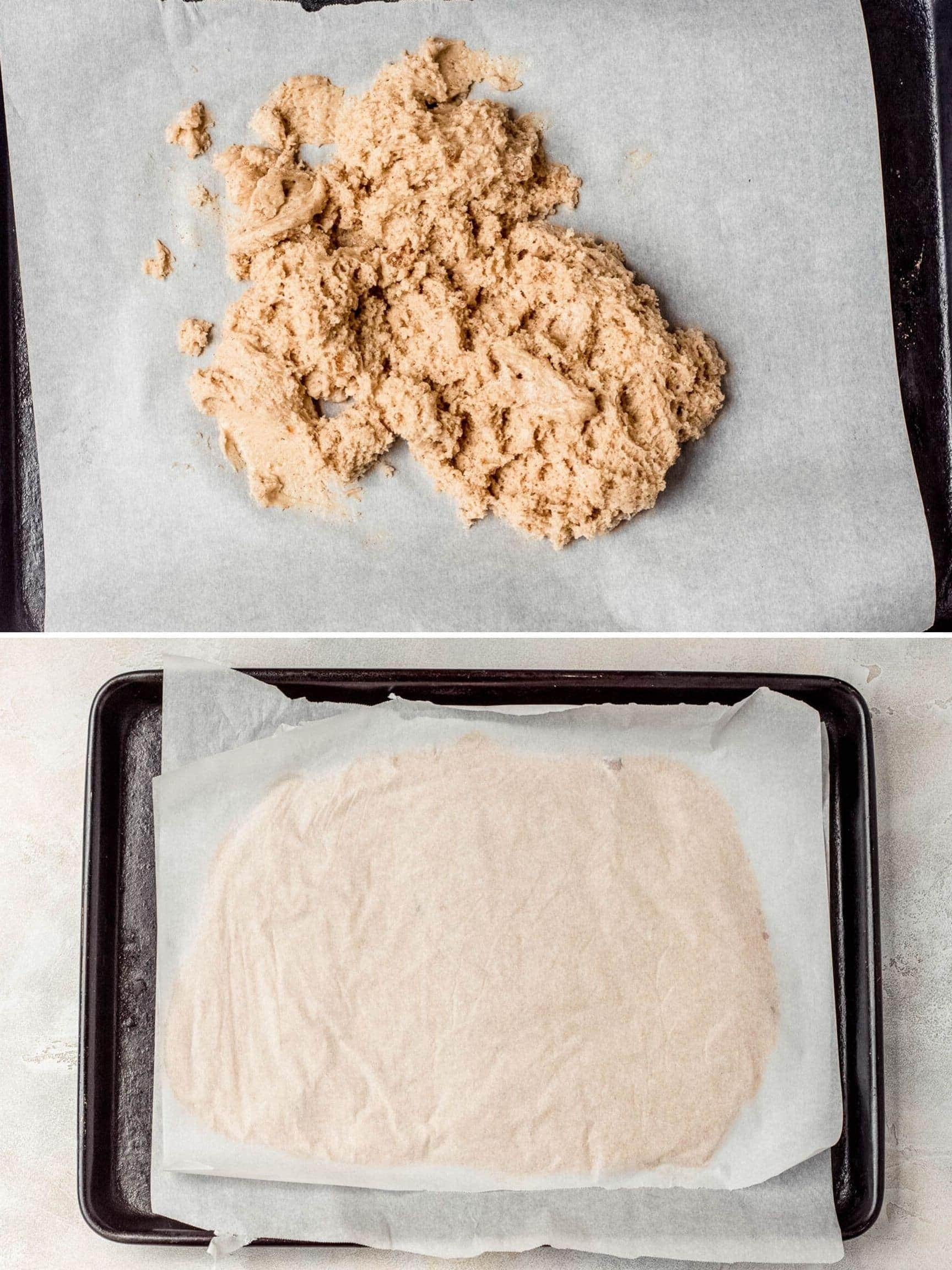 apple cider doughnuts prep collage, dough on baking sheet with parchment being rolled out
