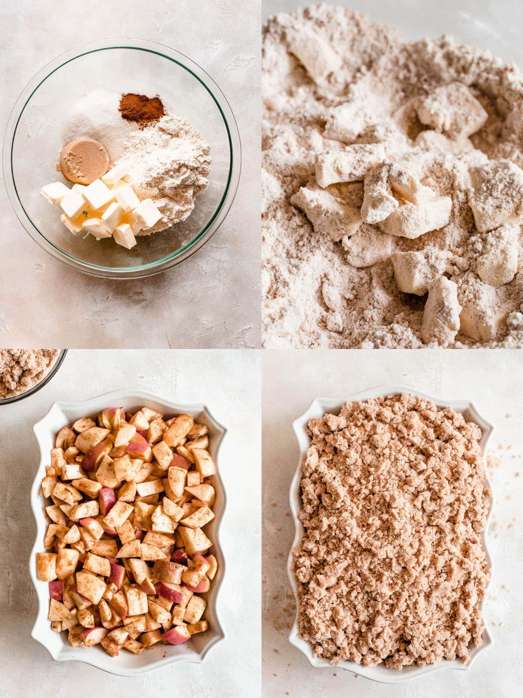 collage of step by step process of making apple crumble